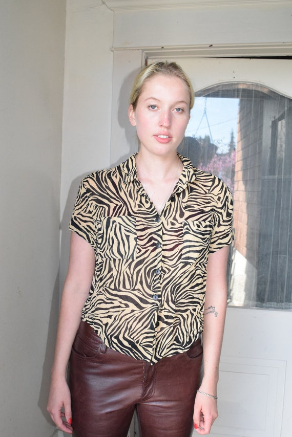 Zebra Print Short Sleeve Top