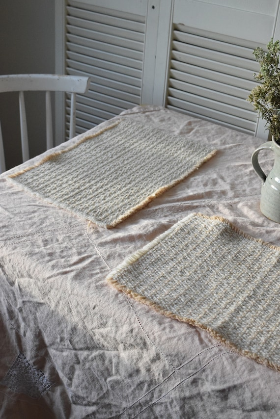 Tan & White Crochet Knit Placemat