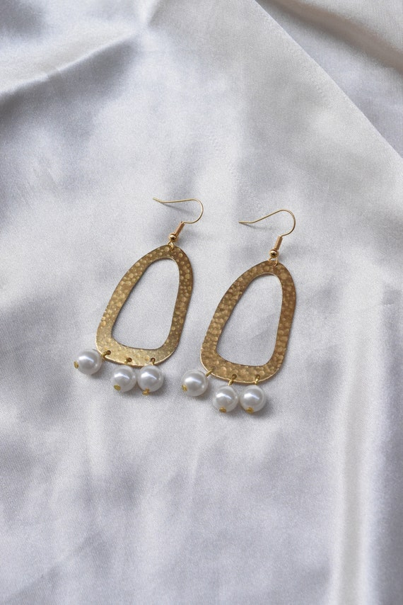 Hammered Brass and Pearl Earrings.