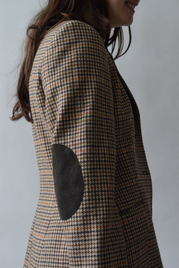 Brown Plaid Wool Varsity Blazer