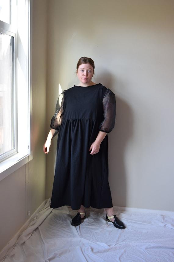 Black Cotton & Organza Gathered Dress