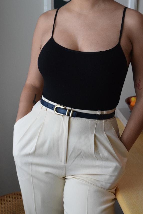 Navy Leather Skinny Belt