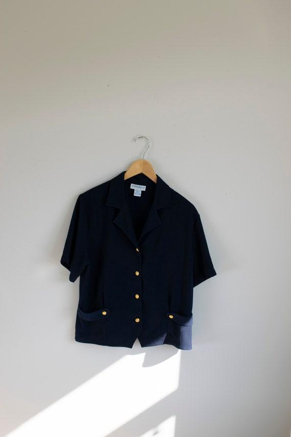 Navy & Gold Blouse