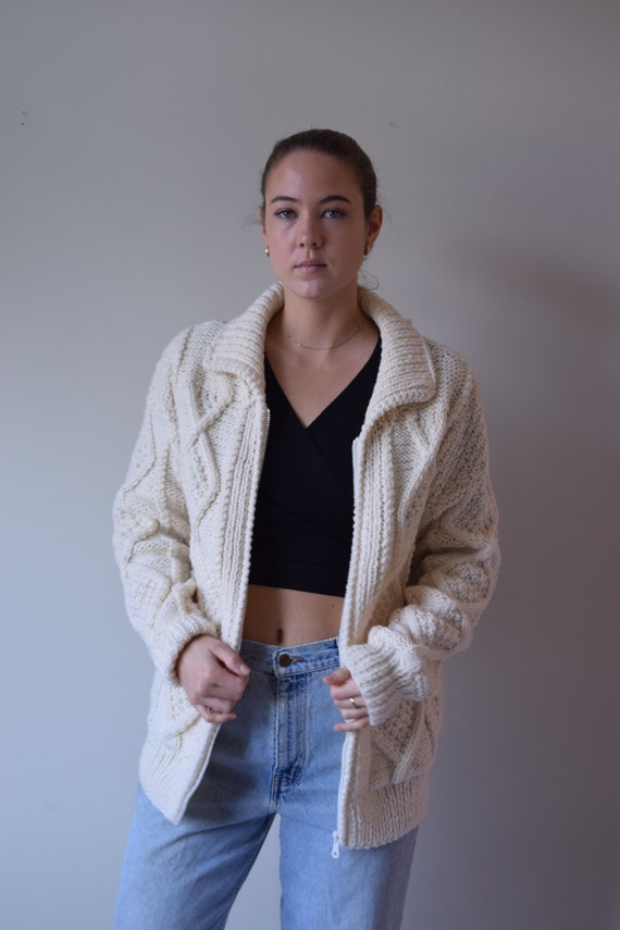 Cream Zip Up Wool Sweater