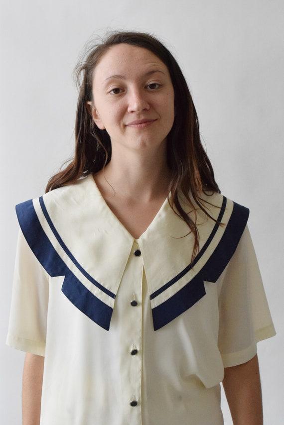 Cream and Blue Sailor Short Sleeve Shirt