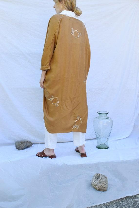 Ochre Vegan Silk Cocoon Kimono  |  Print Optional