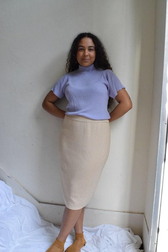 Wheat Knit Pencil Skirt