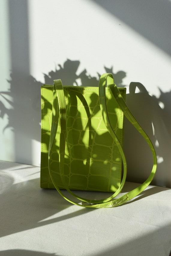 Lime Green Faux Alligator  Bag