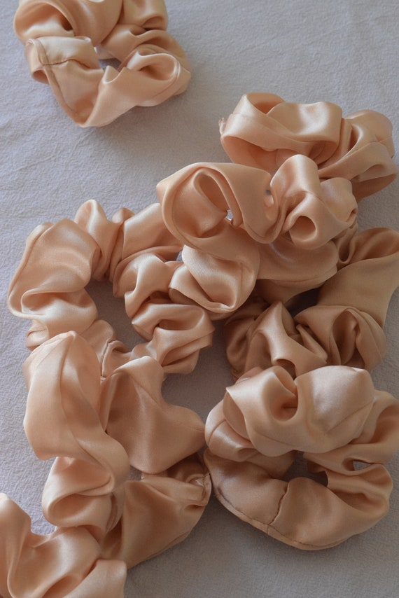 Peach Satin Hair Scrunchies