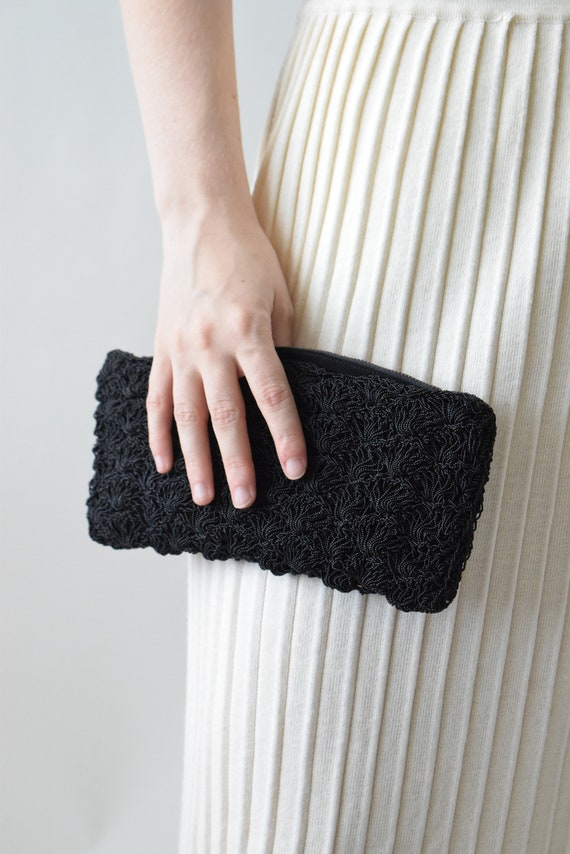 Scalloped Black Beaded Clutch