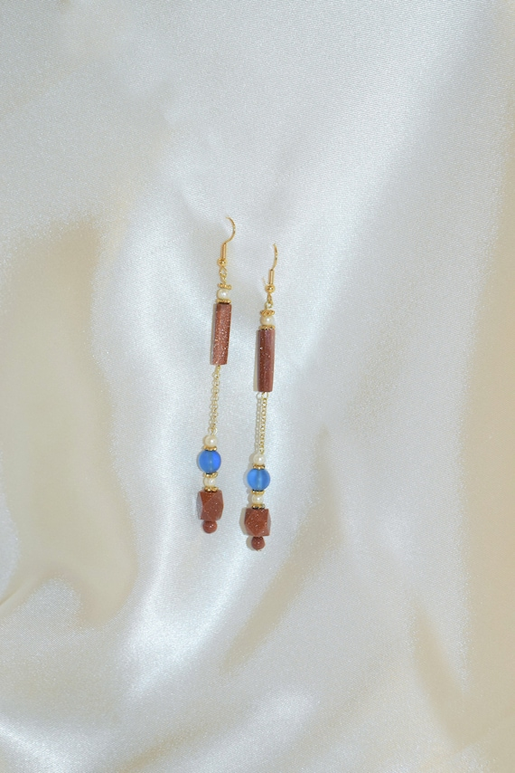 Red Goldstone Chain Earrings.