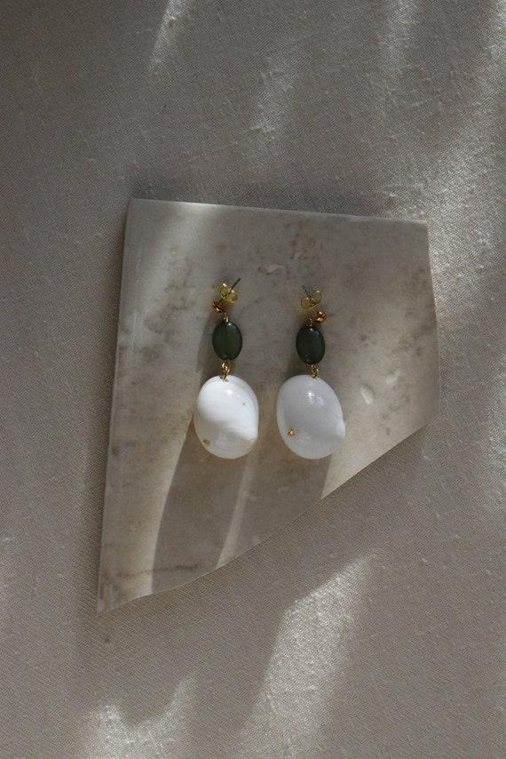 Olive & Shell Earrings