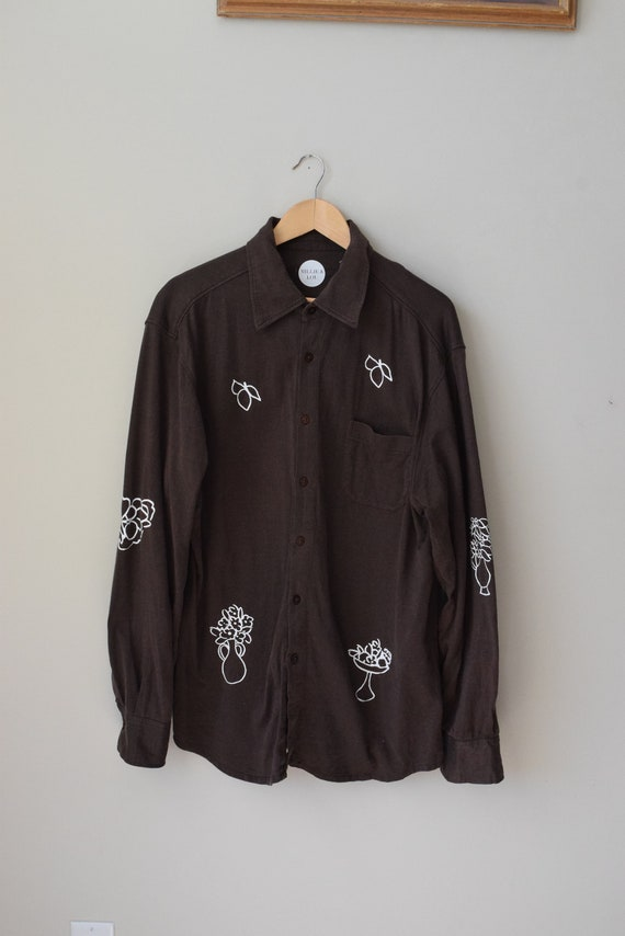 Laura Chocolate Jersey Button Down