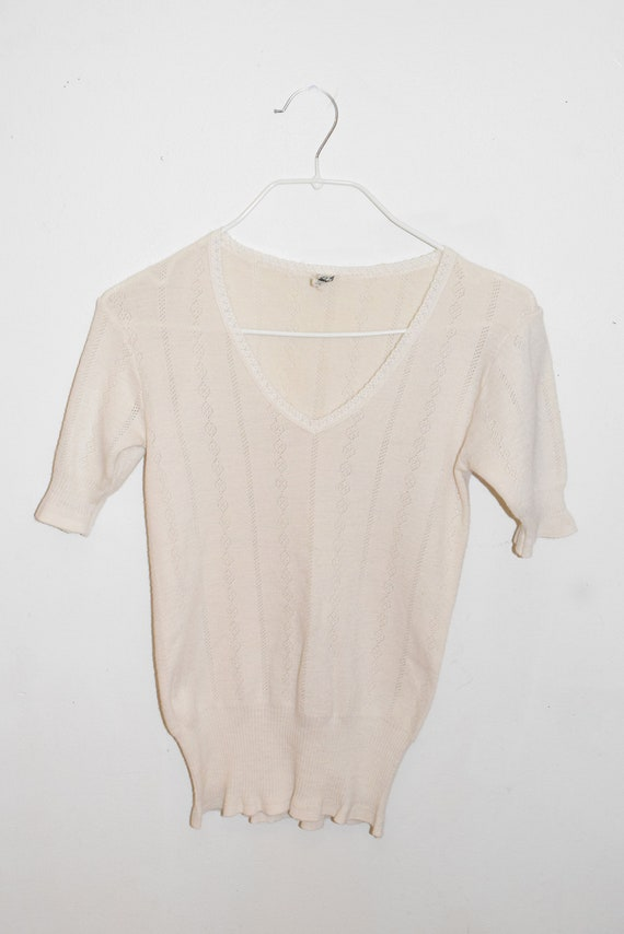 Cream Eyelet Wool Knit V-Neck