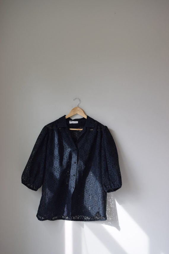 Black Lace Puff Sleeve Blouse