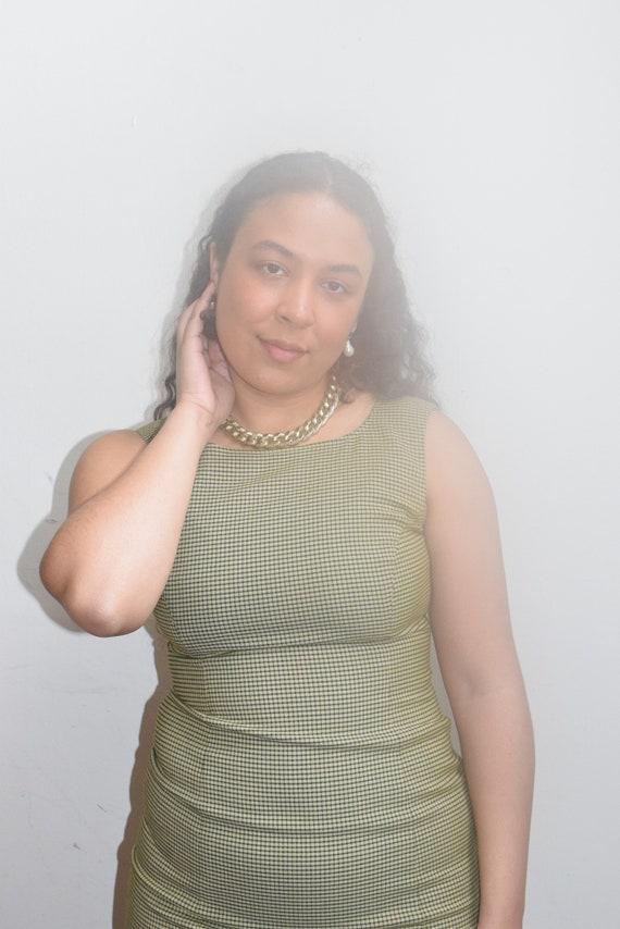 Green Micro Gingham Shift Dress