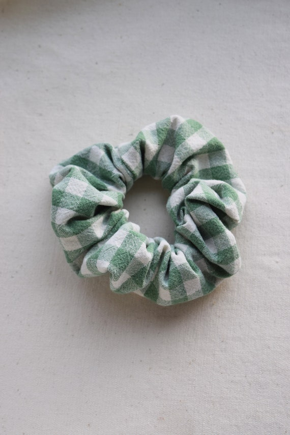 Green Gingham Hair Scrunchies