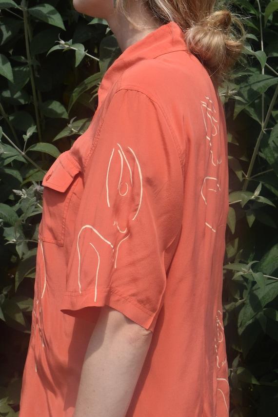 Chemise à manches manches manches courtes en soie corail méridien femme 0ae79a
