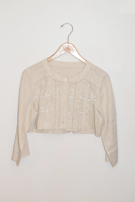 Cream Embroidered Resew Cropped Top