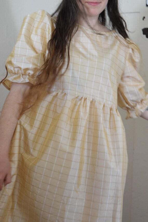 Bobbi Gold Check Puff Sleeve Dress