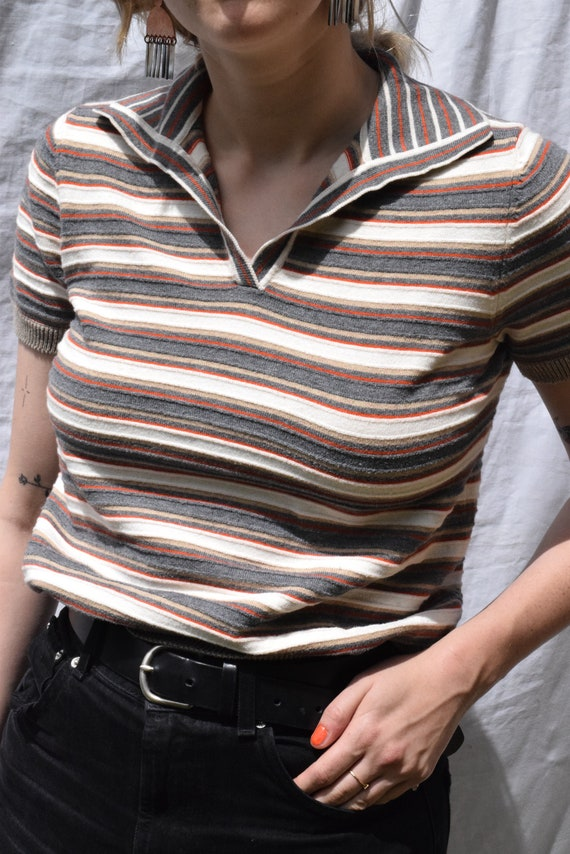 Multi-Coloured Cotton Striped Short Sleeve Knit