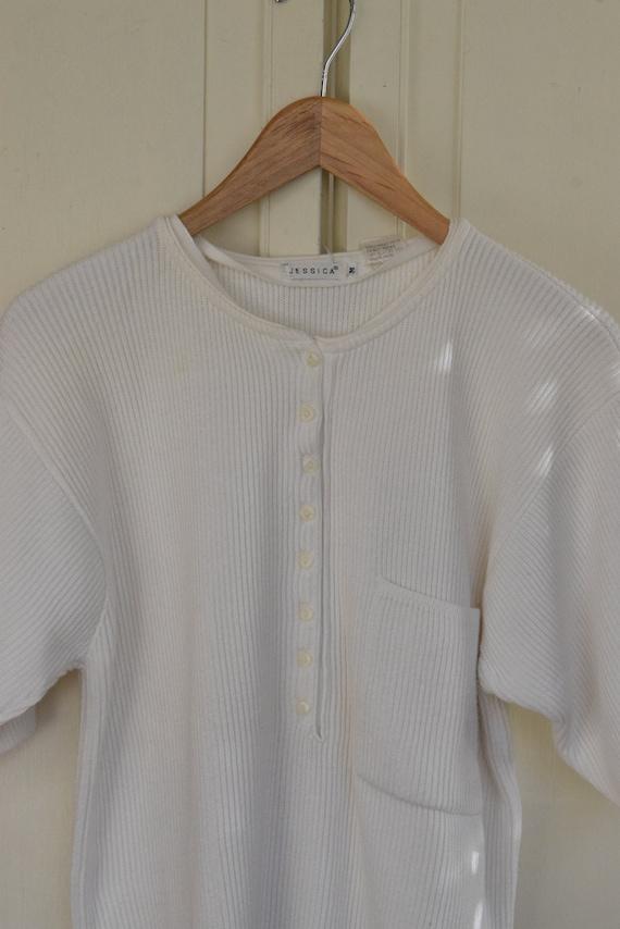 White Knit Henley Tee