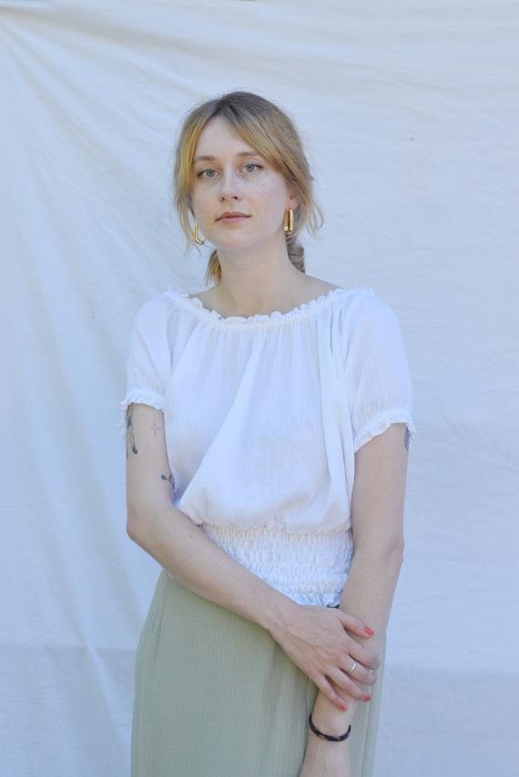 White Cotton Peasant Blouse   |  Print Optional