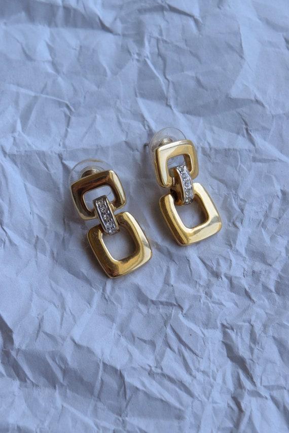Gold Chainlink Rhinestone Studs