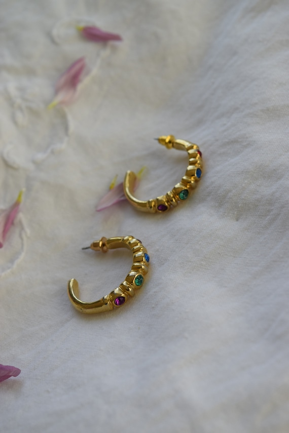 Bejeweled Gold Hoops