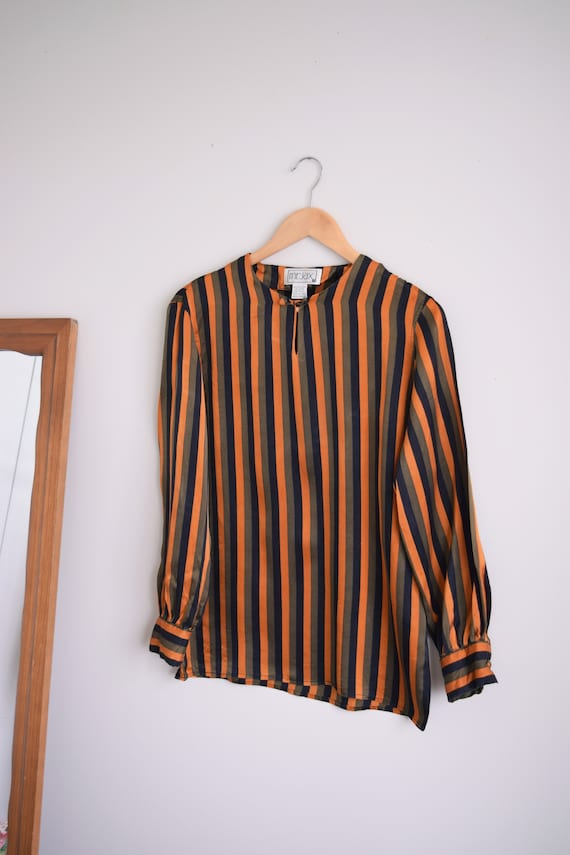 Pinstripe Long Sleeve Silk Top