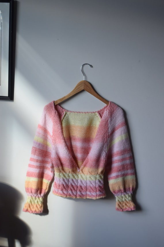 Handknit Sorbet Striped Sweater