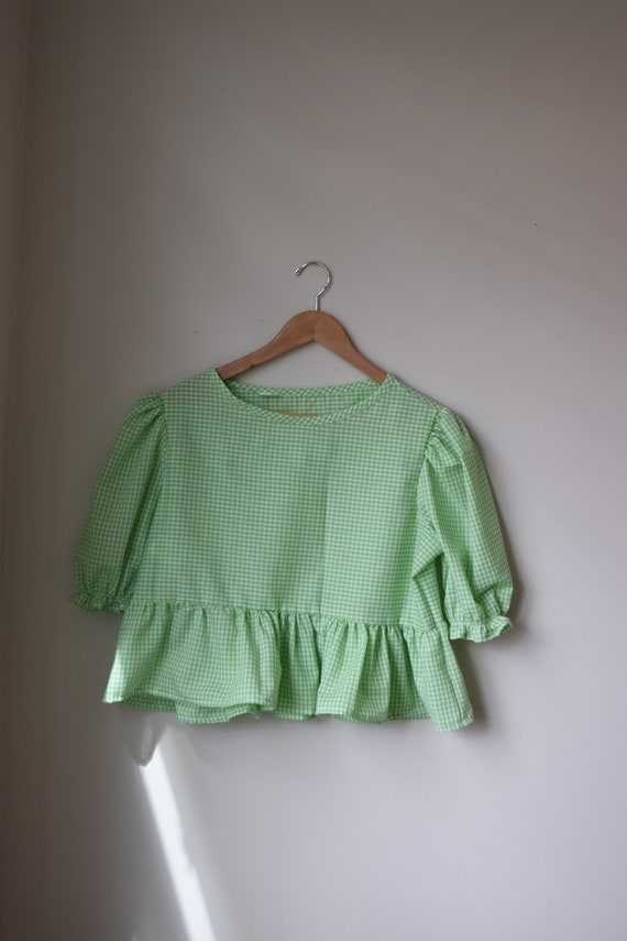 Lime Gingham Puff Sleeve Top