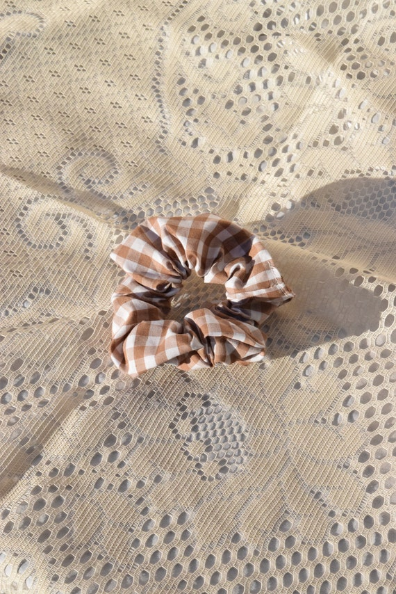 Tan and White Gingham Hair Scrunchie  |  Add-on Item