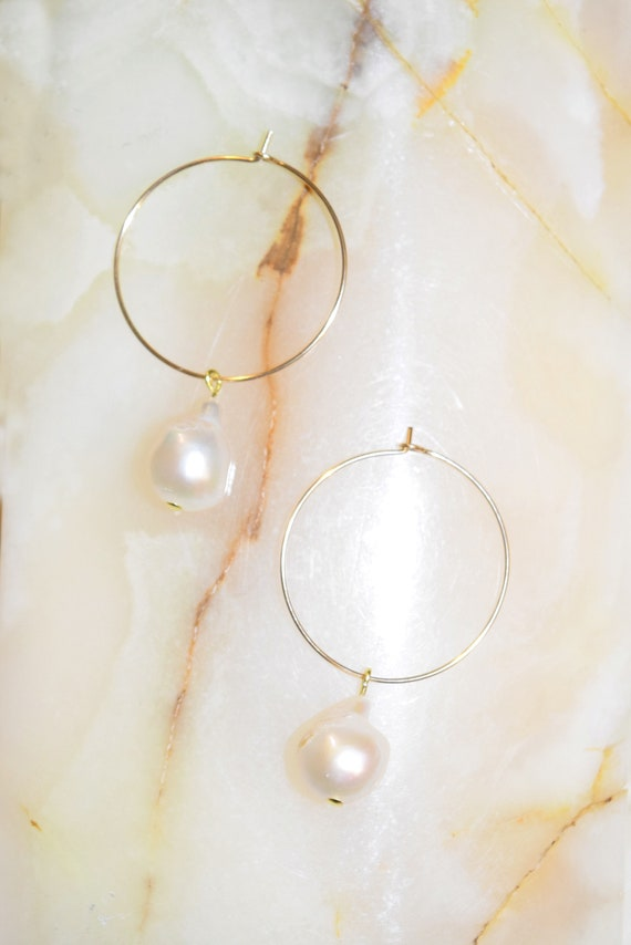 Daphne 14k Gold Baroque Pearl Hoops