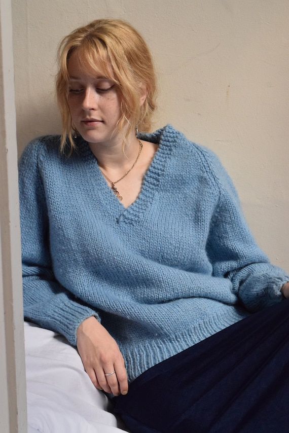 Powder Blue Hand-Knit Wool Sweater
