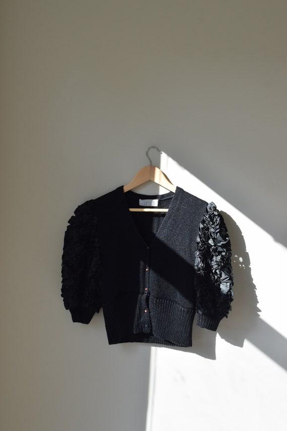 Black Knit Puff Sleeve Top