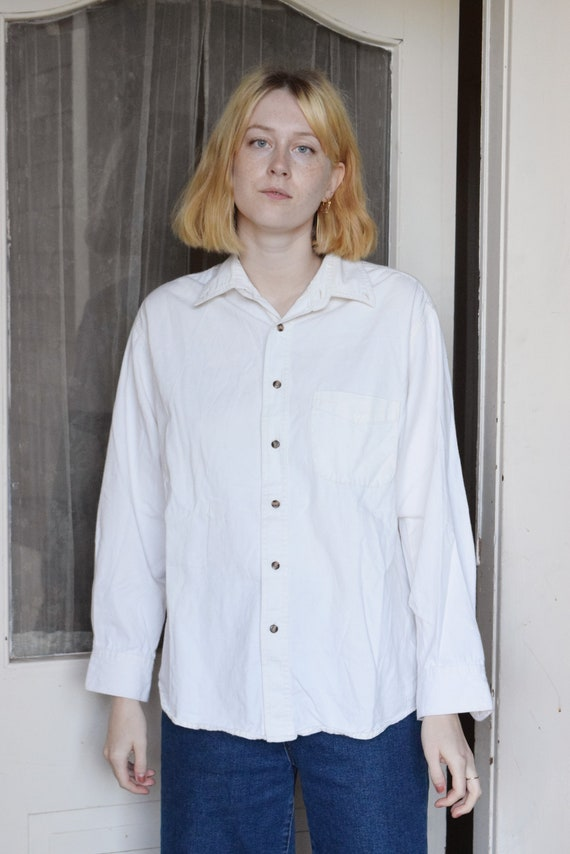 Relaxed White Button Up  |  Print Optional