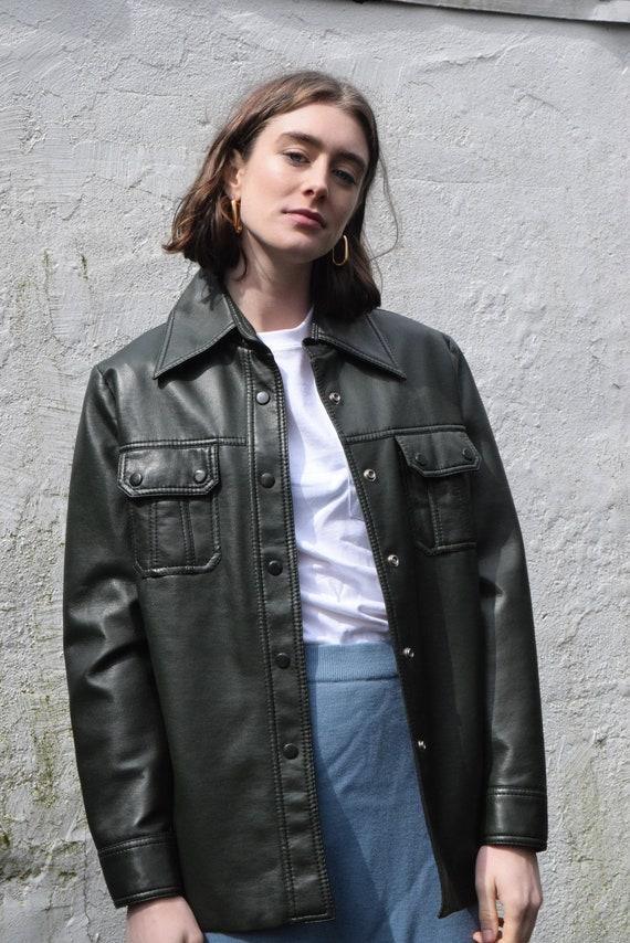 Forrest Green Vegan Leather Utility Jacket.