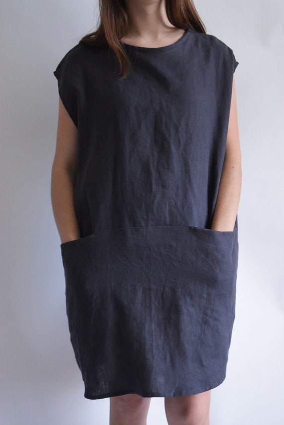 Linen Ladder Charcoal Linen Drop Shoulder Tunic