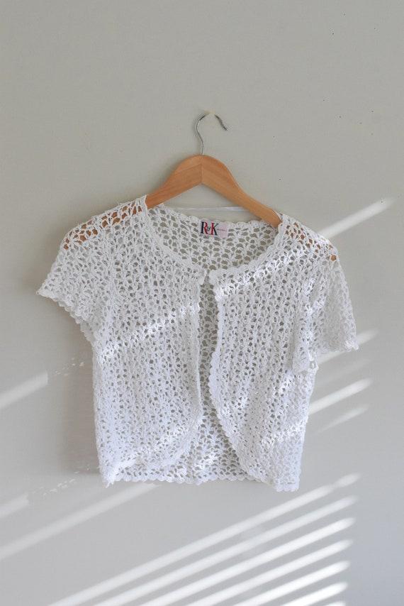 White Open Front Crochet Tee