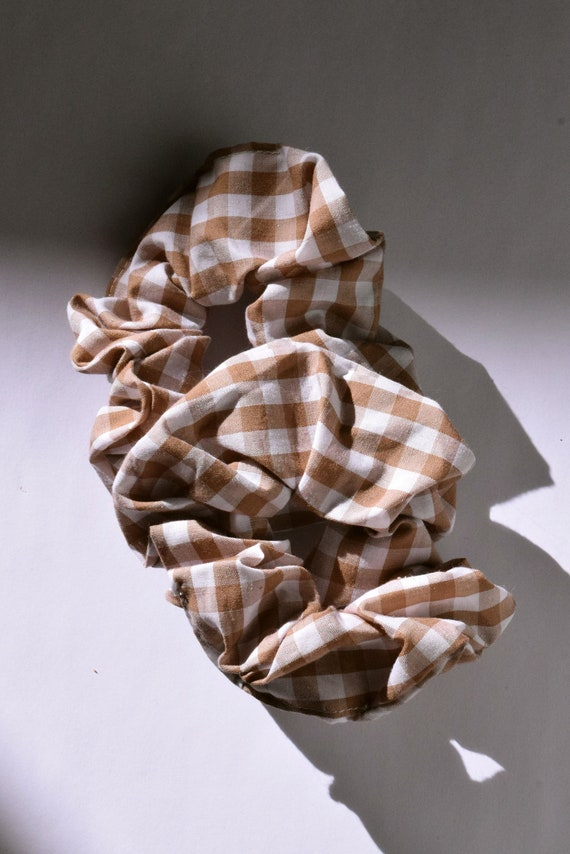 Tan and White Gingham Hair Scrunchie     Add-on Item