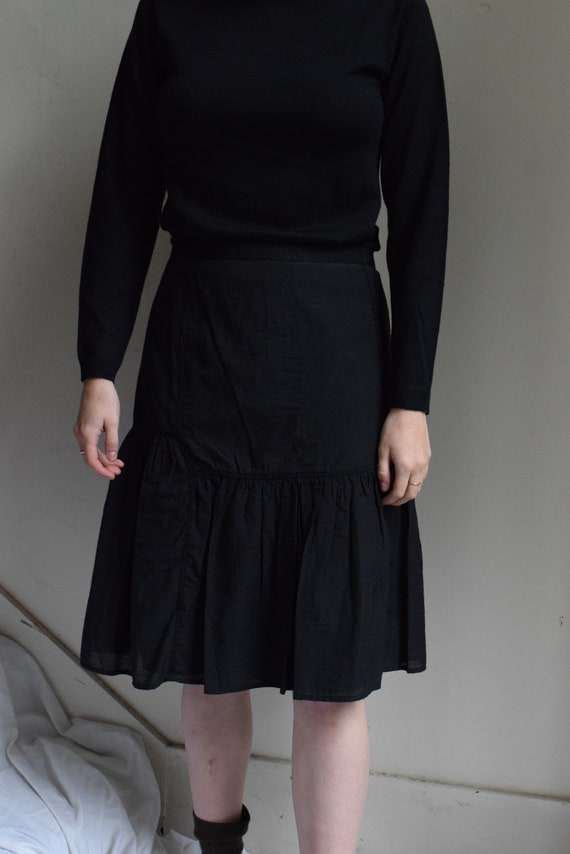 Bodiced Black Cotton Skirt  |   Print Optional