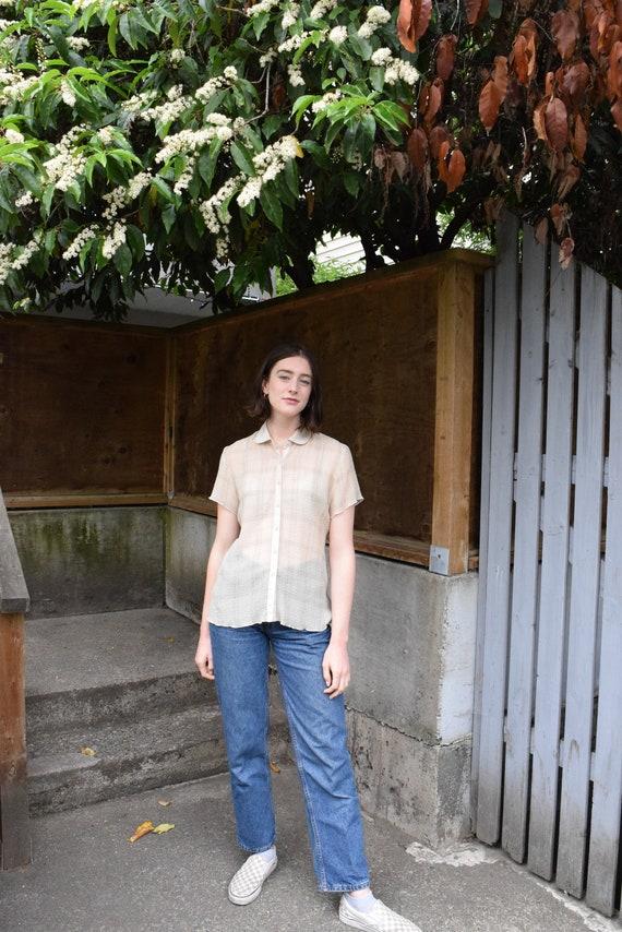 Tan and White Plaid Short Sleeve Shirt