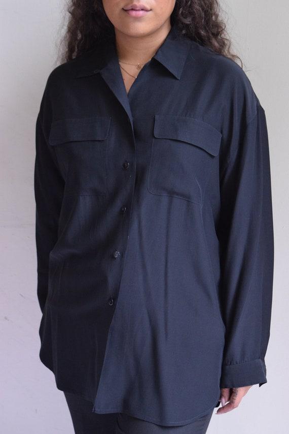 Black Silk Long Sleeve Shirt | Print Optional