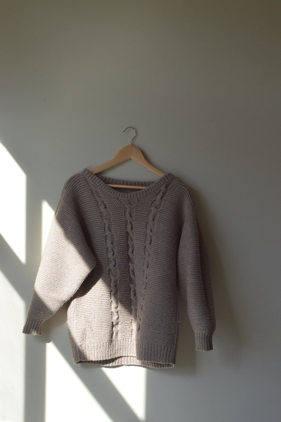 Taupe Handknit Sweater