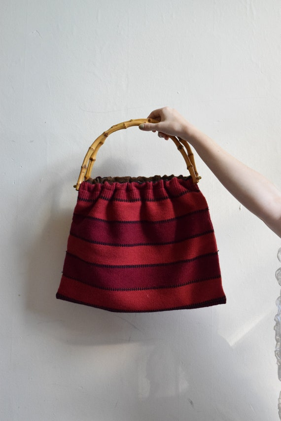 Vintage Striped Knit Bag with Bamboo Handle