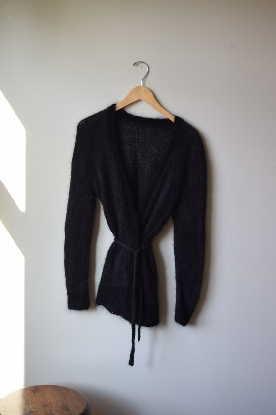 Handknit Black Wrap Blouse