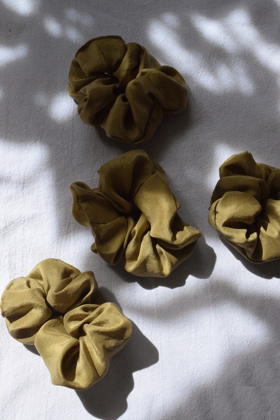 Gold Silk Scrunchies