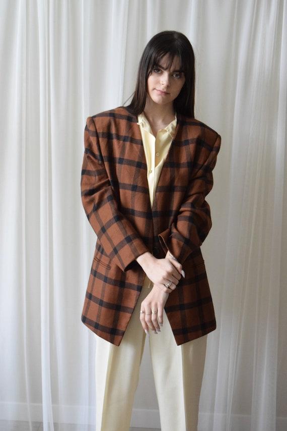 Black & Chesnut Plaid Wool Blazer