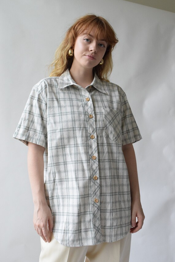 Sage Green Plaid Silk Blouse